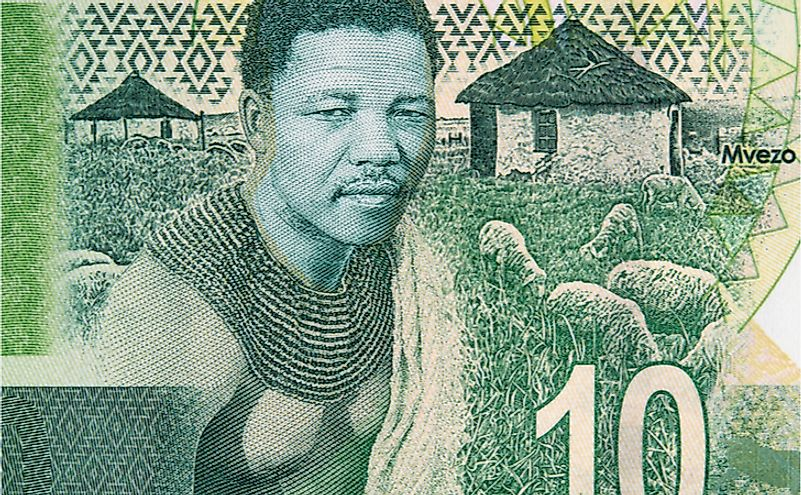 Young Nelson Mandela and his birthplace of Mvezo on South Africa 10 rand note.