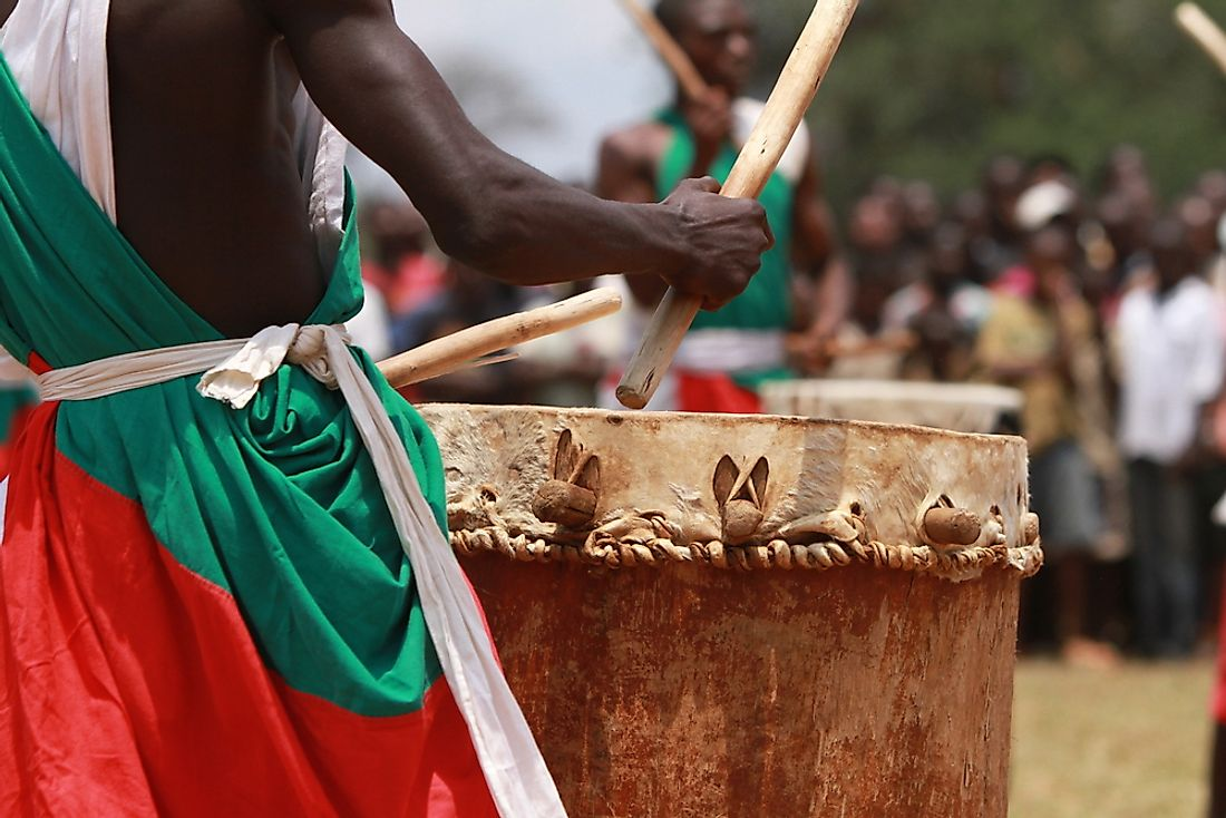 A drummer in traditional clothing in Burundi.