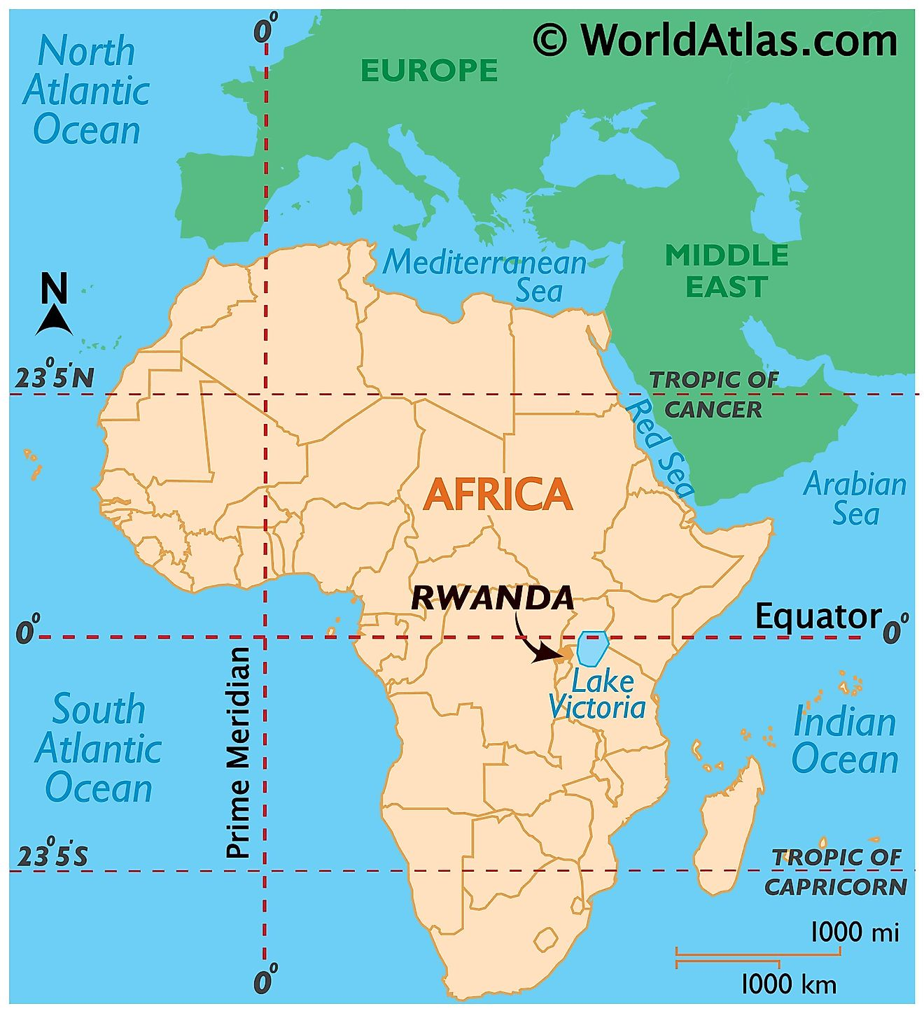 Map showing location of Rwanda in the world.