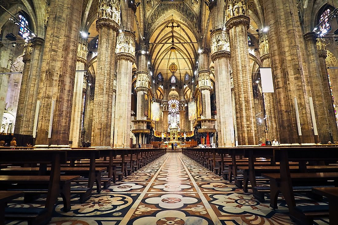 The interior of a Catholic Church.
