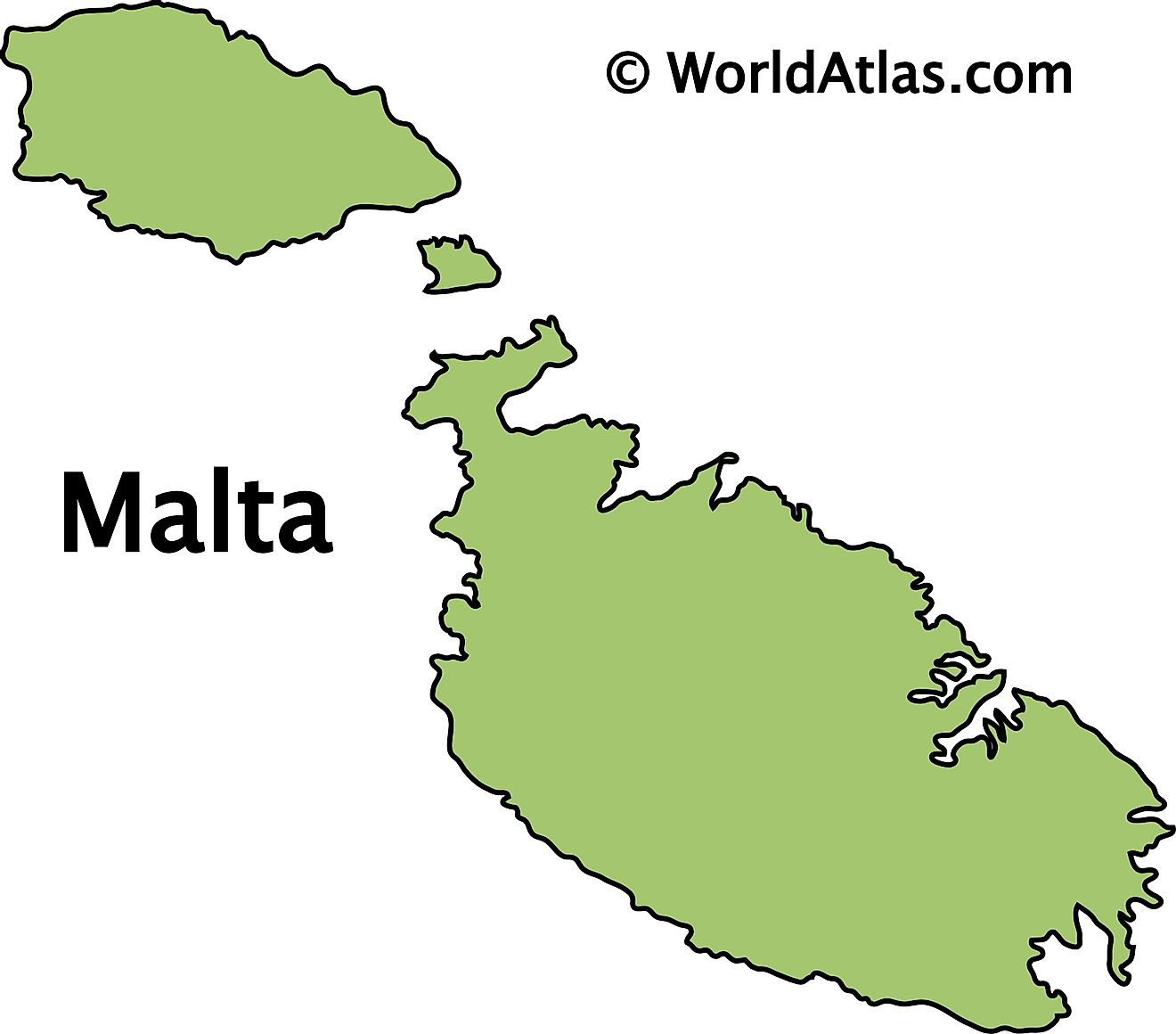 Outline Map of Malta