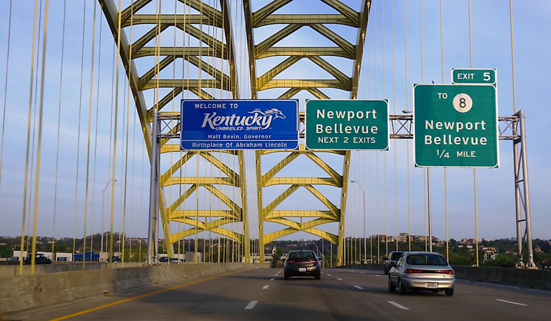 Welcome sign on a bridge spanning the Ohio River between Cincinnati, Ohio and Covington, Kentucky. Editorial credit: EQRoy / Shutterstock.com