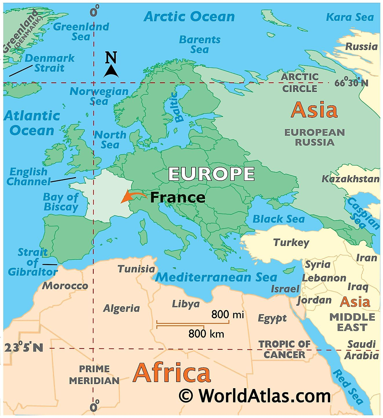 Map showing location of France in the world.