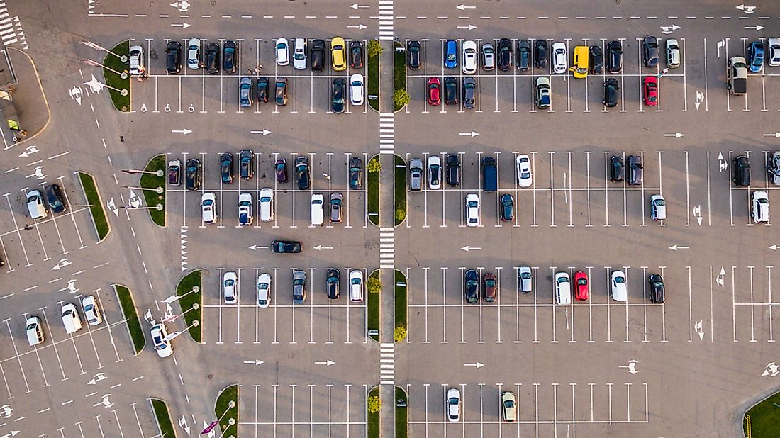 An aerial view of a large parking lot.
