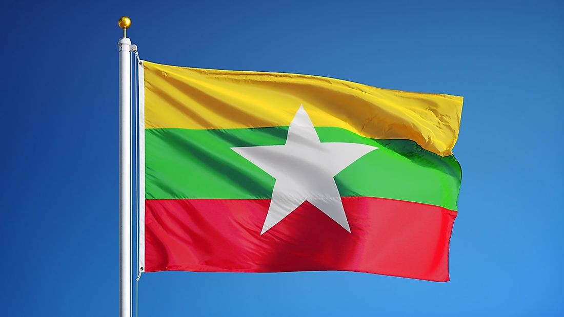 The flag of Myanmar.