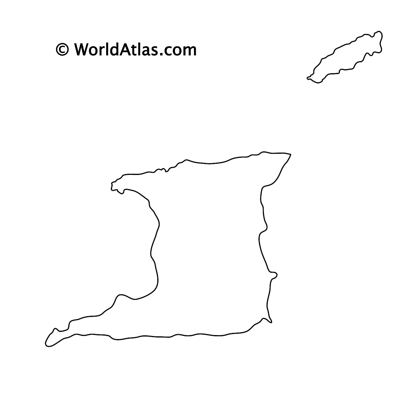Blank Outline Map of Trinidad and Tobago
