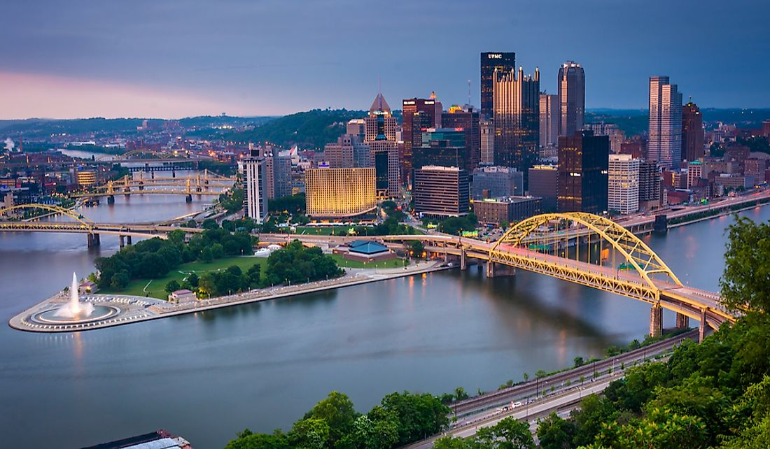 Pittsburgh sits at the confluence of three rivers necessitating its many bridges.