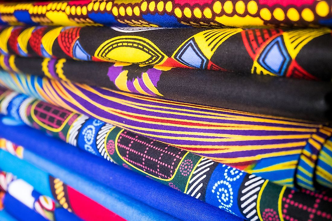 Fabrics for sale at a marketplace in Nigeria.