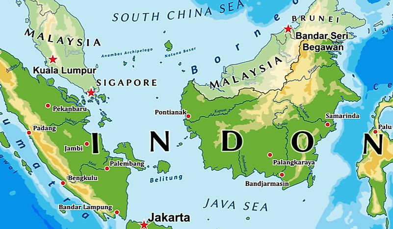 A map showing the border between Indonesia and Malaysia.