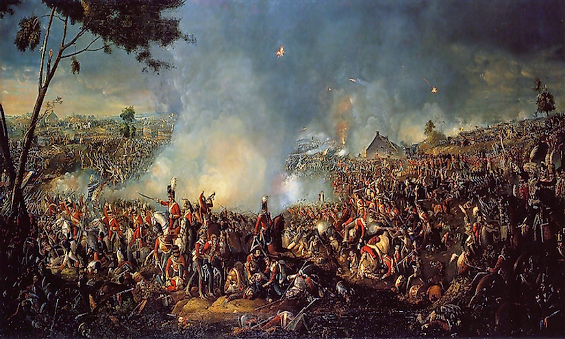 An artist's representation of the Battle of Waterloo, 1815