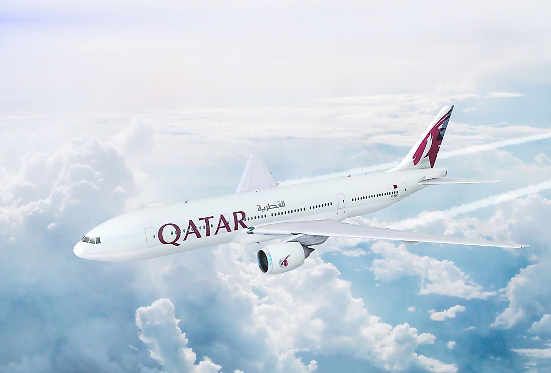A view of the Qatar Airways Boeing 777 that completes one of the world's longest commercial flights. Editorial credit: NextNewMedia / Shutterstock.com.