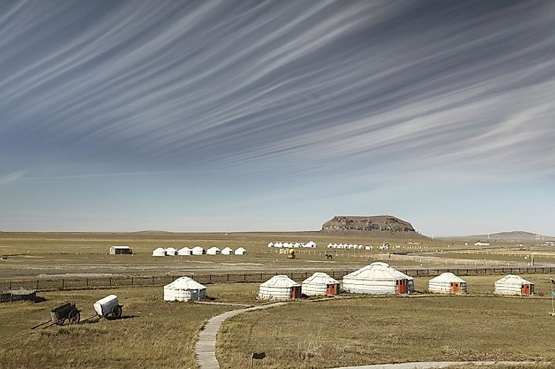 Yurts and semi-nomadic livestock herders along the 2,906-mile-long Mongolian-Chinese border, China's longest among the 14 neighbors it borders.