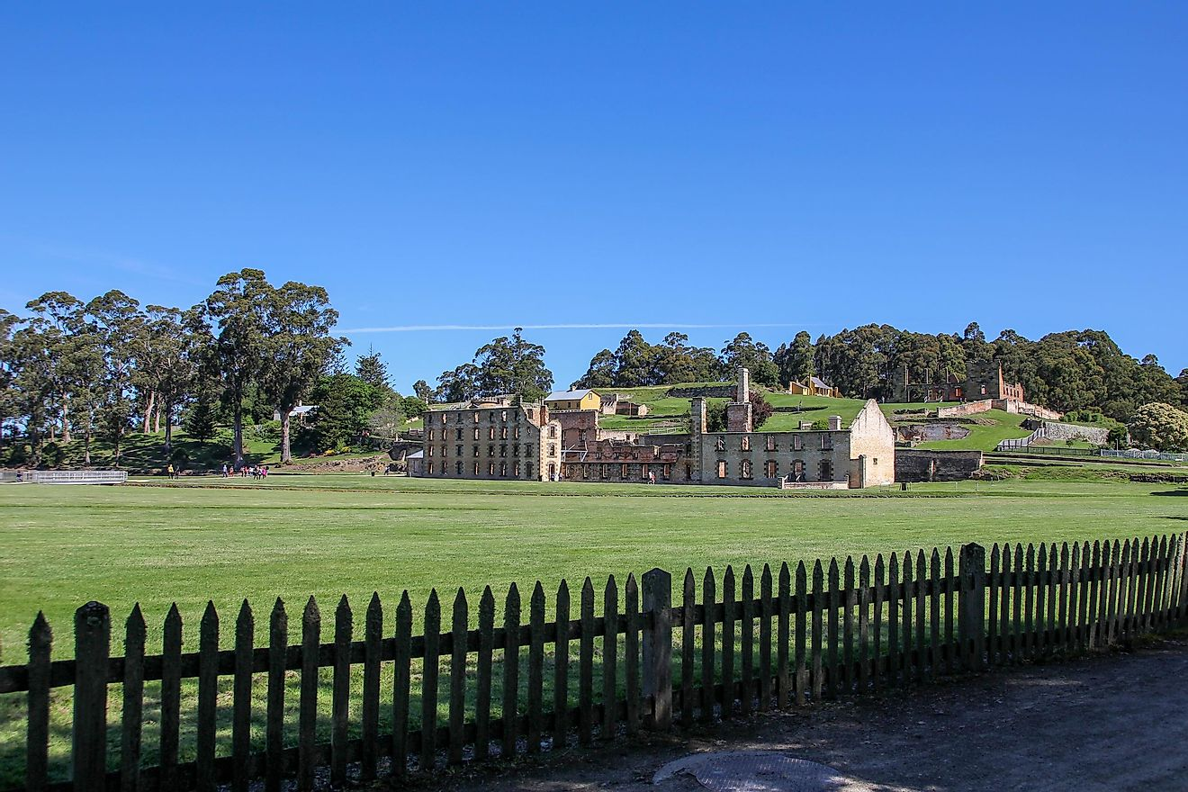 Ruins of settlements and prison for convicts at Port Arthur in Tasmania, Australia.