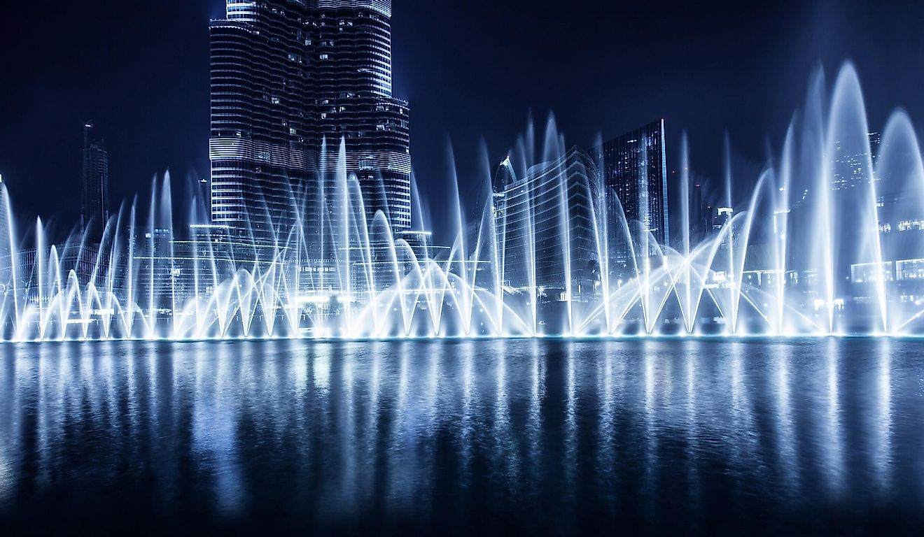 The Dubai Fountain in Burj Khalifa is the largest system in the world of dancing fountains.