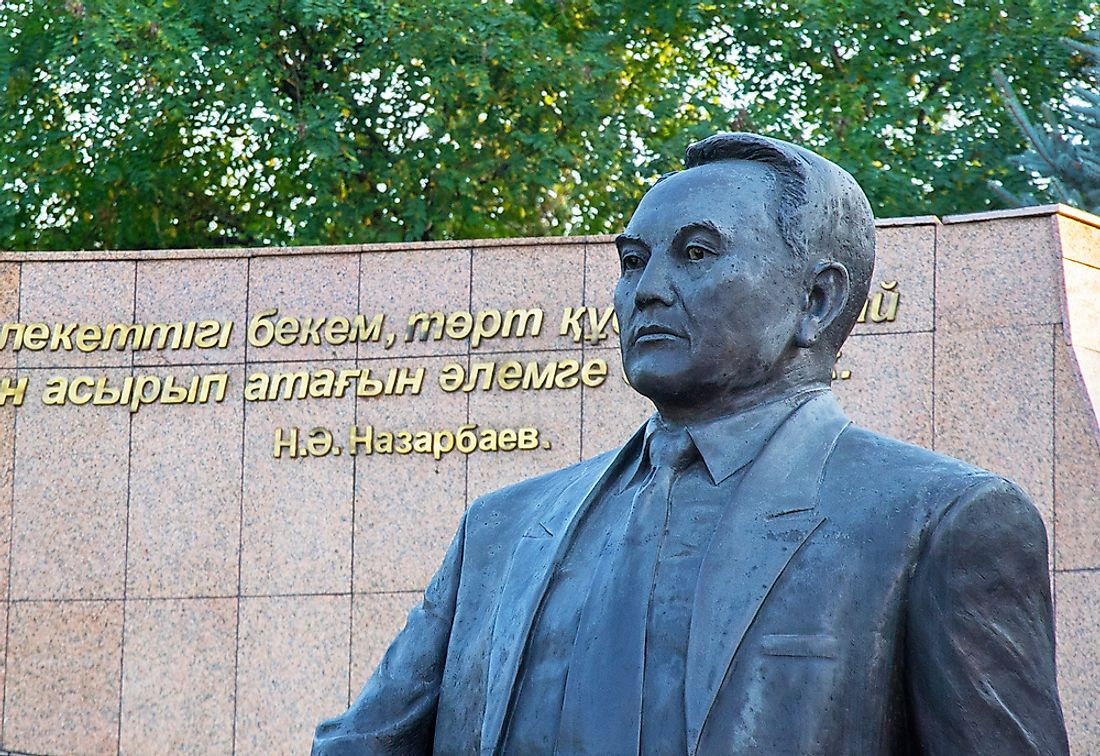 A statue of Nazarbayev in Almaty, Kazakhstan. Editorial credit: Cholpan / Shutterstock.com.
