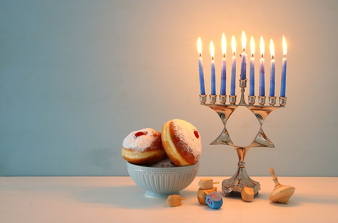 During Hanukkah, a candle is lit on each of the eight nights.