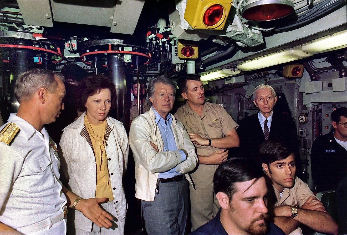 President Jimmy Carter and Admiral Hyman G. Rickover, USN (far right) aboard the submarine USS Los Angeles in 1977.