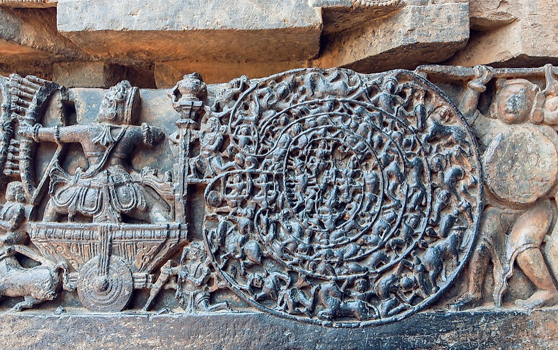 A carving depicting the Kurukshetra War, which is the inspiration of the Mahabharata epic poem.
