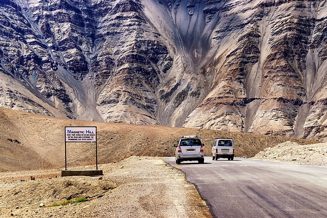 An example of a gravity hill found in Kashmir, India.
