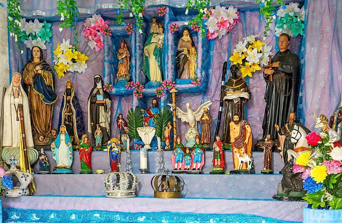 A religious alter in Brazil that mixes elements of many different world religions.