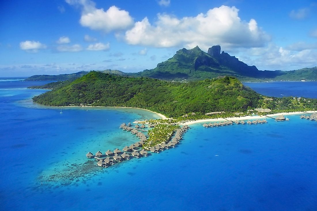 An aerial view of the island of Bora Bora.