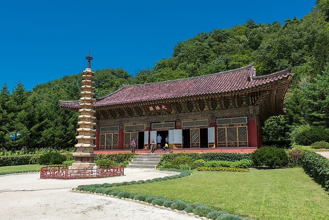 Pohyon, an ancient Buddhist monastery found in Pyongyang, North Korea. Editorial credit: Kanokratnok / Shutterstock.com.