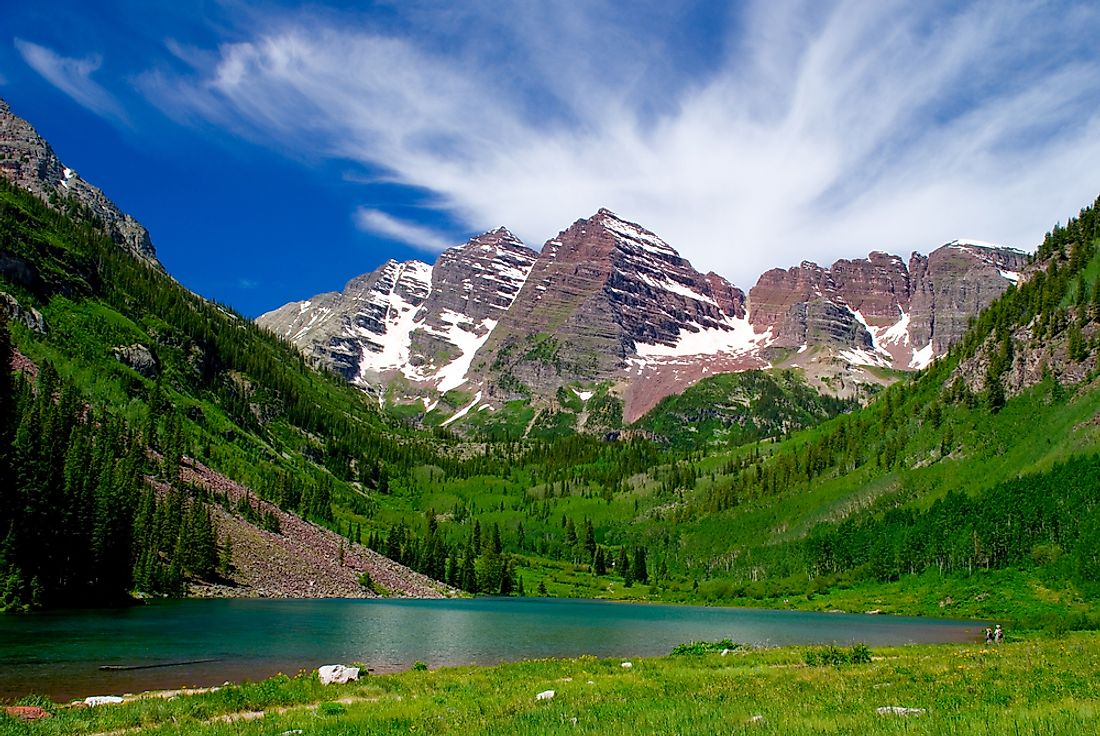 The Maroon Bells gain their distinctive maroon coloring from mudstone.