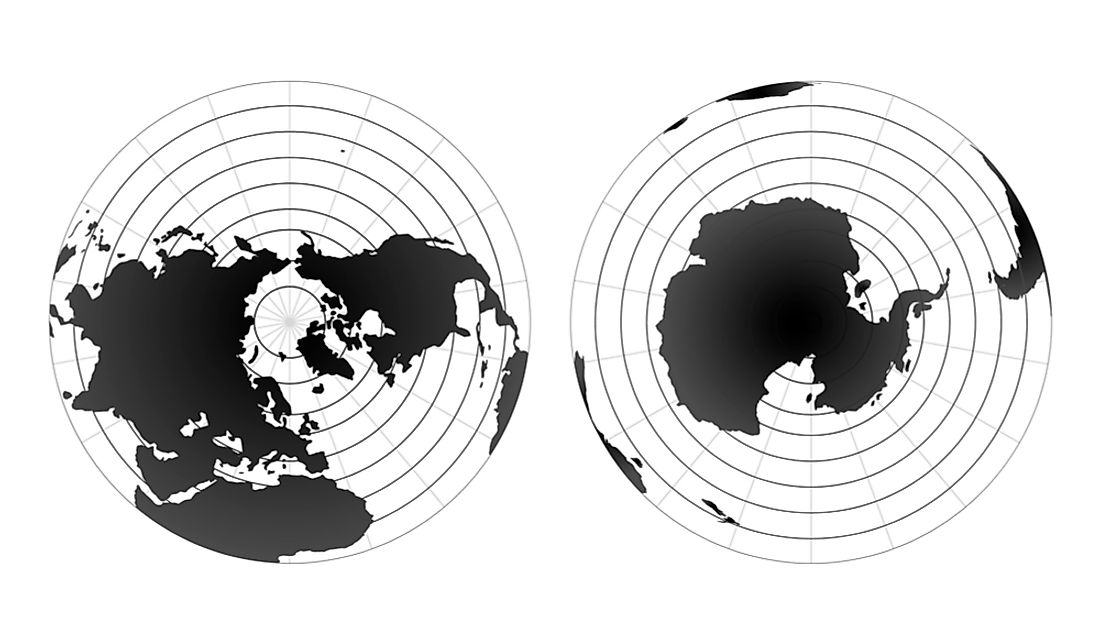 The lines of longitude converge at the North Pole (left) and South Pole (right).