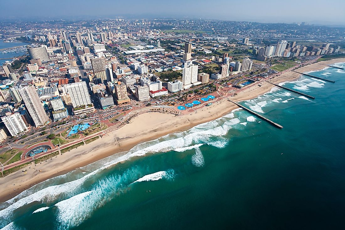 An aerial view of Durban, South Africa.
