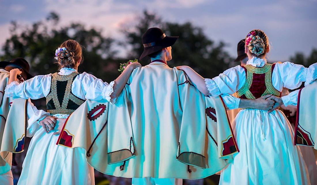 Traditional Slovak costumes during a flower dance.