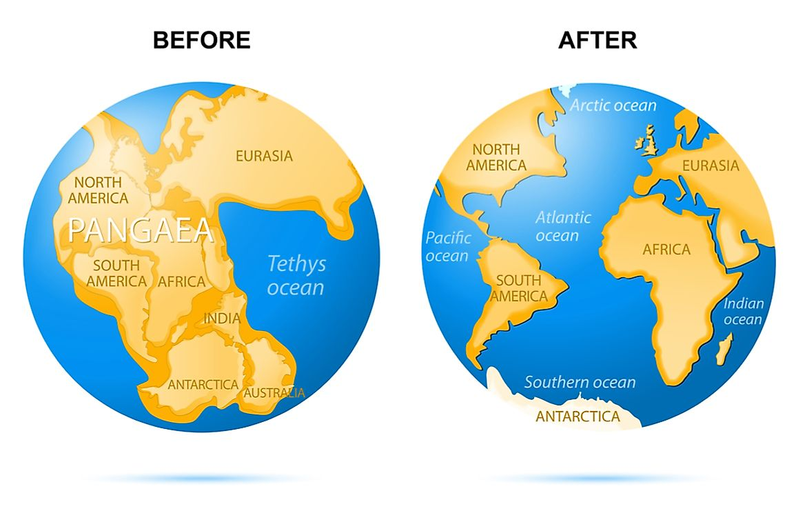 Continental drift over 2 million years from the continent of Pangaea to today's continents.