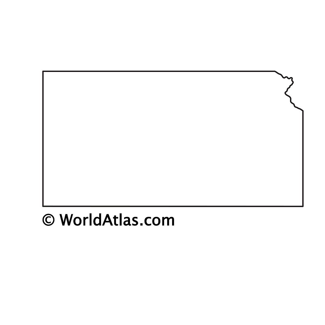 Blank outline map of Kansas