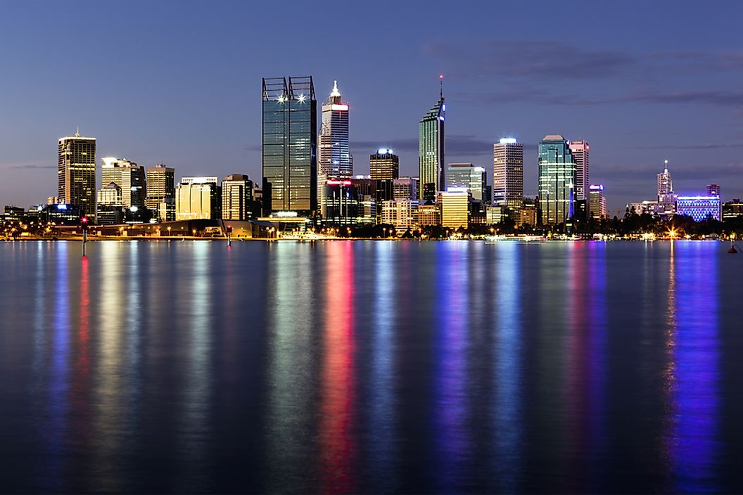 Evening skyline of Perth, Australia.