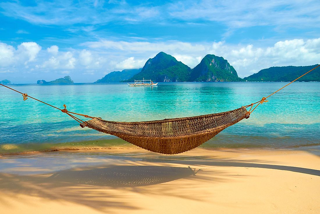 A hammock on one of many beaches in the Philippines.