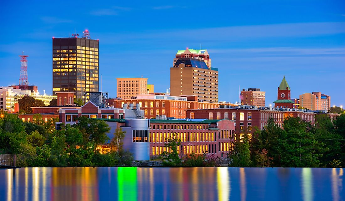 The city of Manchester, New Hampshire, on the Merrimack River.