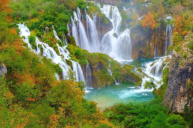 Waterfalls in Croatia's Plitvice Lakes National Park.