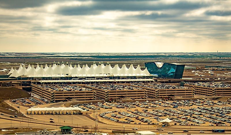 Denver International Airport is the world's second largest in terms of land area. Editorial credit: Bob Pool / Shutterstock.com.