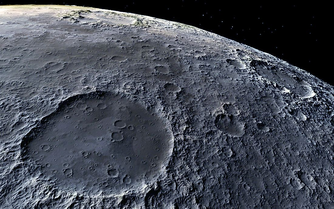 The moon's surface.