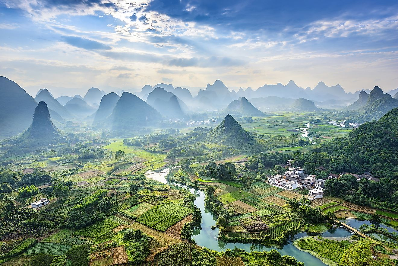 Karst mountains in Guilin, China.