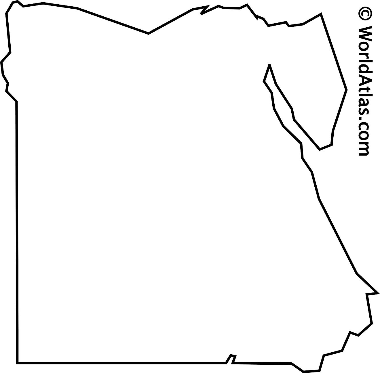 Blank Outline Map of Egypt