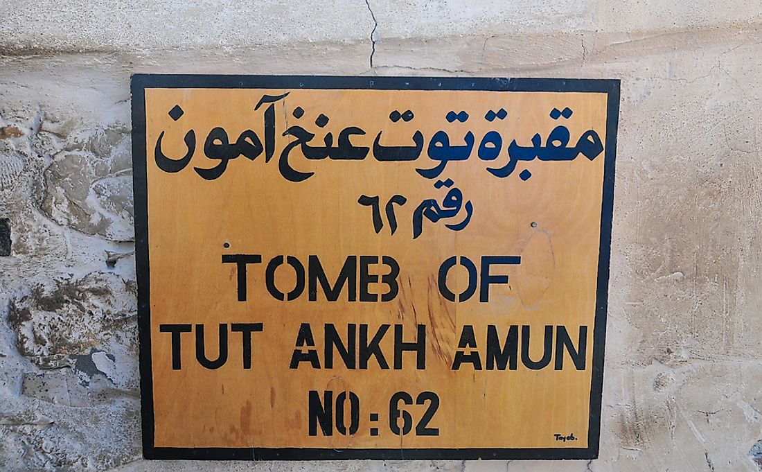 A sign showing the Tomb of King Tut in Egypt.