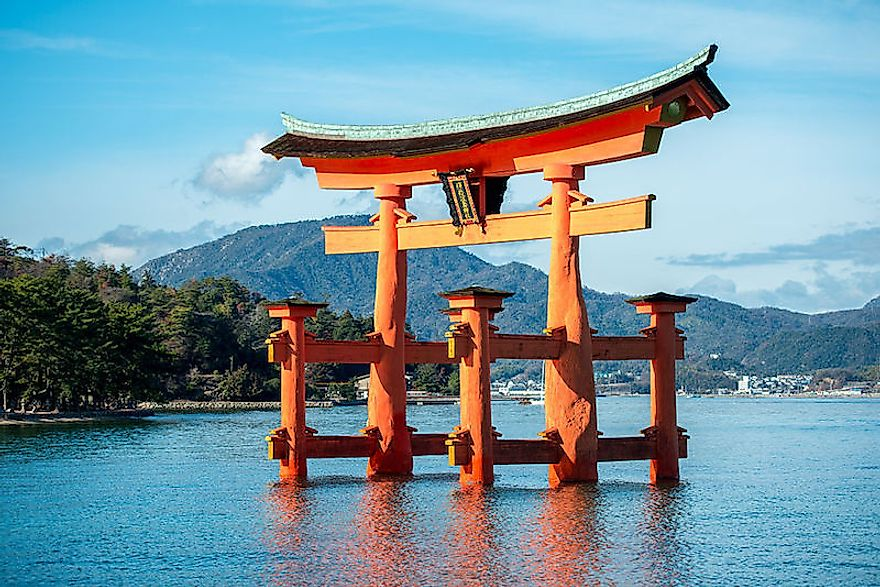 The torii of Itsukushima Shinto Shrine in Japan.