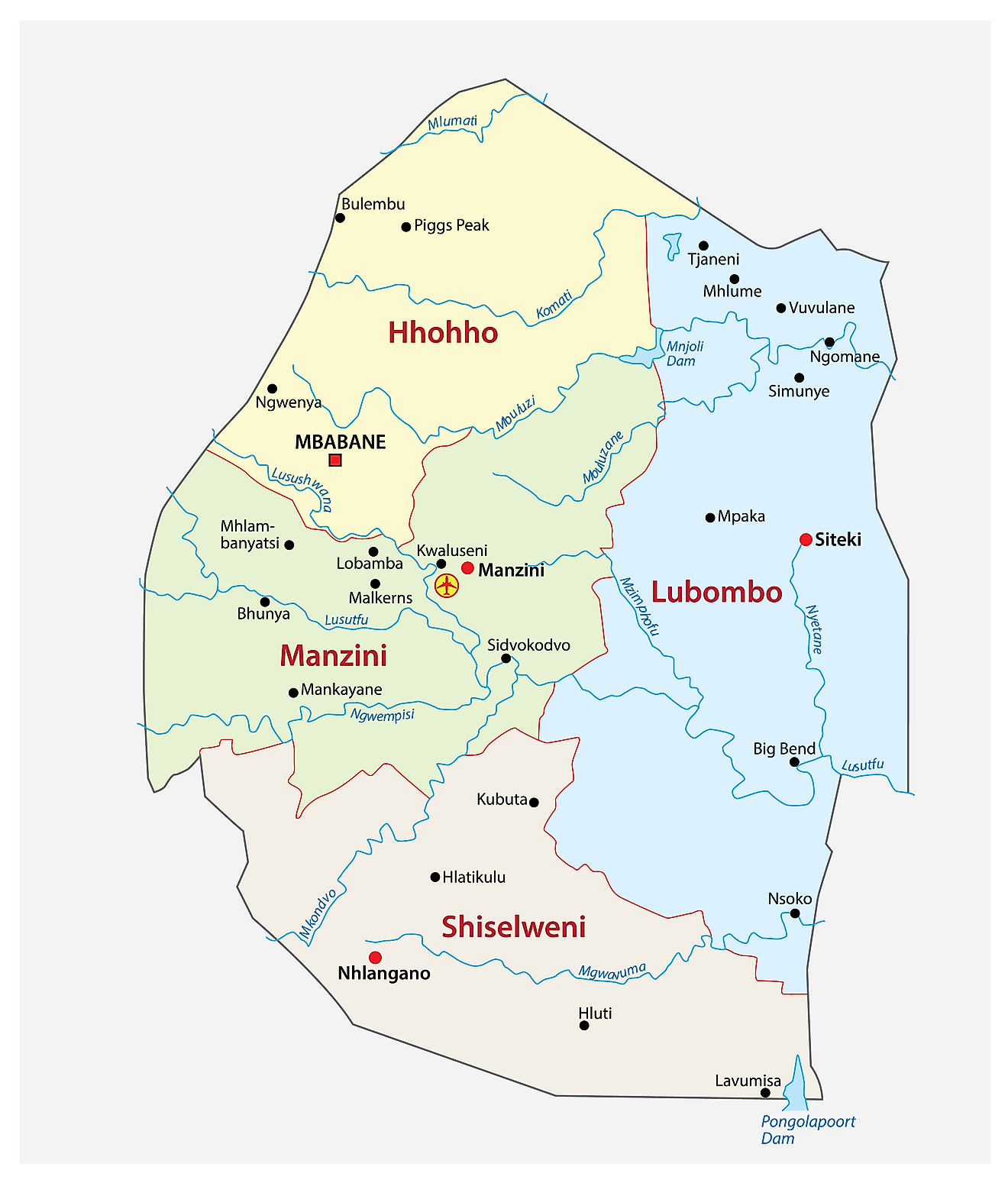 Administrative Map of Eswatini showing the four regions of the country, their capitals, and the national capital of Mbabane.