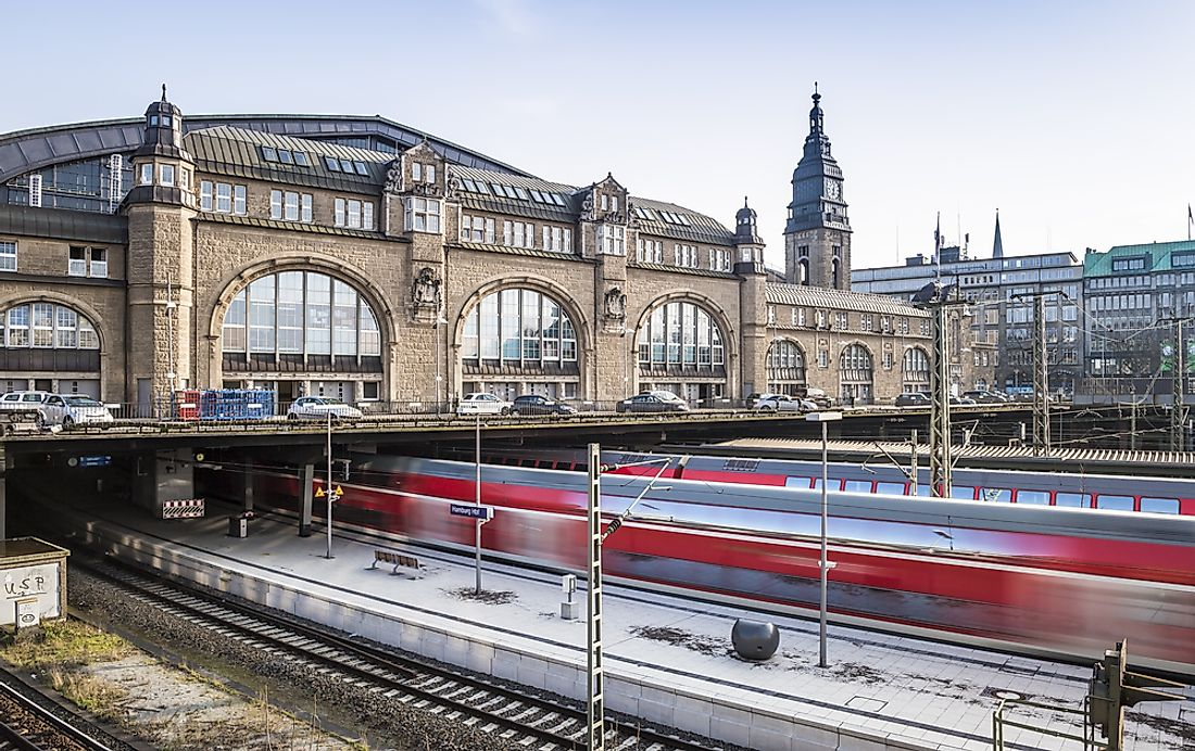The main station of Hamburg, Germany, is the busiest railway station in the country.