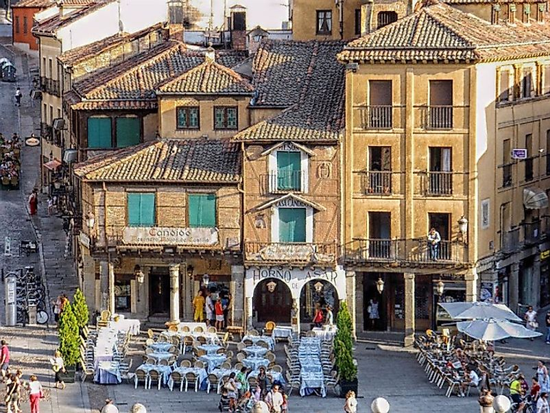 The everyday life of a cafe and street corner in the historic city of Segovia, just northwest of the capital Madrid.