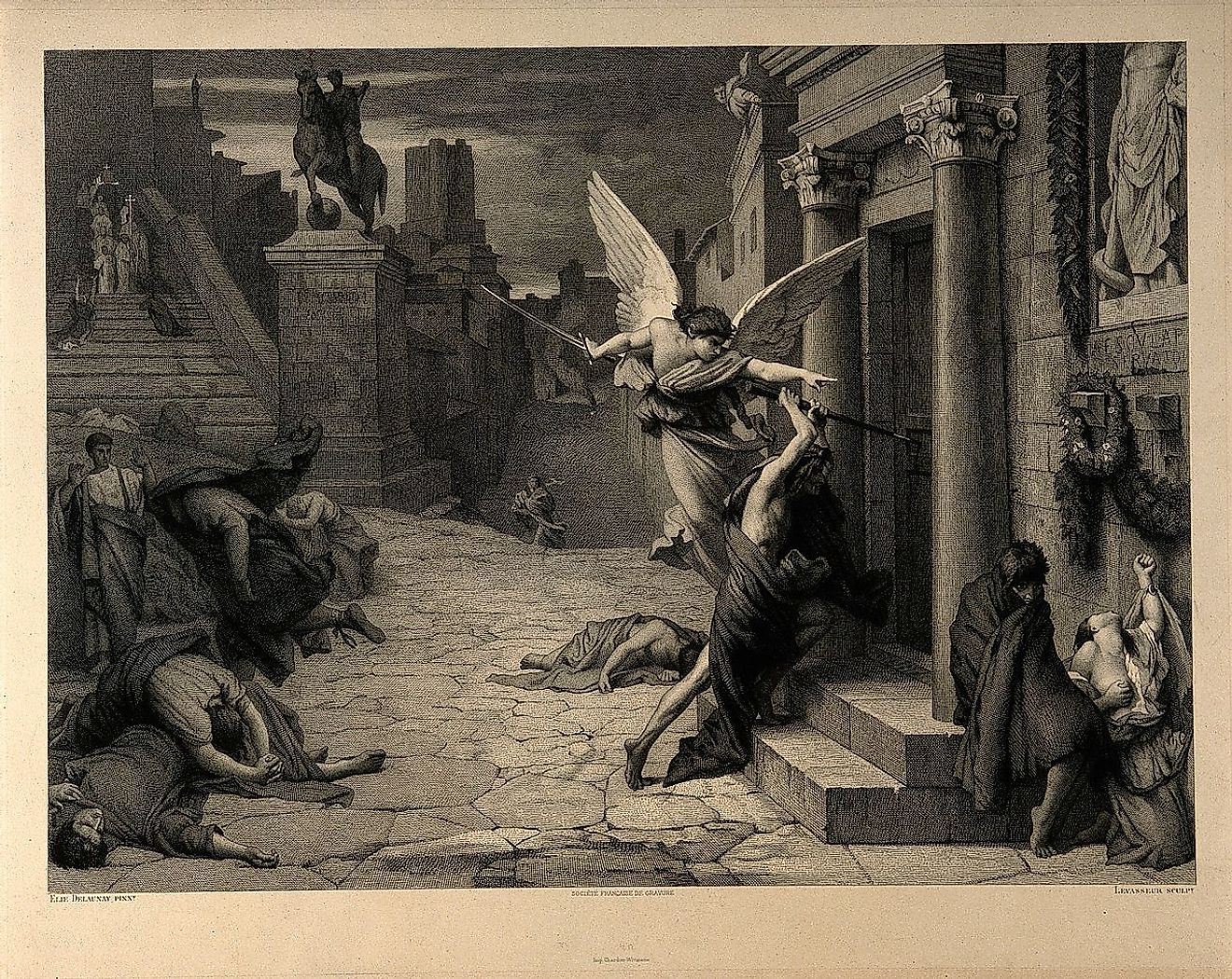 The angel of death striking a door during the plague of Rome: an engraving by Levasseur after Jules-Elie Delaunay
