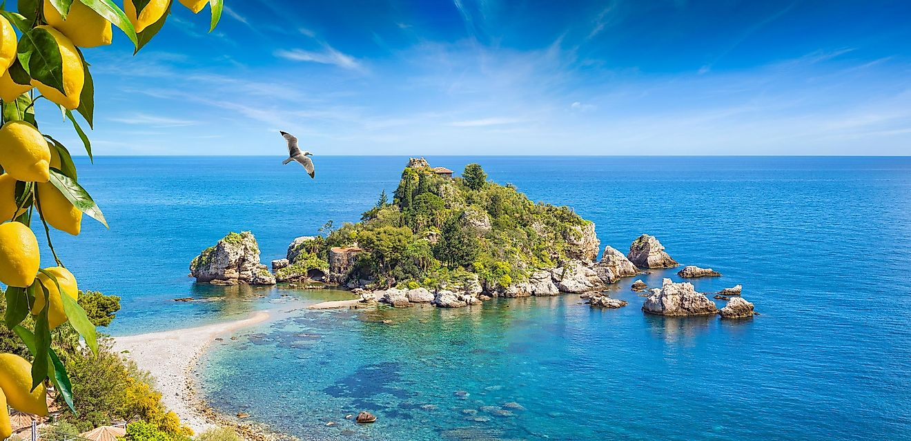 Isola Bella island off Sicily, Italy, in the Ionian Sea.