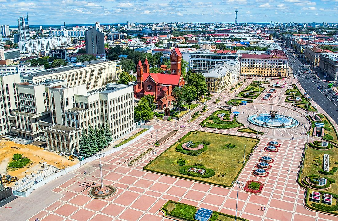 Minsk, Belarus with the parliament buildings in view.