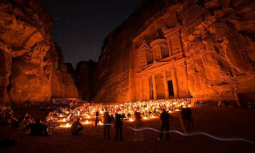 A nightime view of Petra in Jordan.