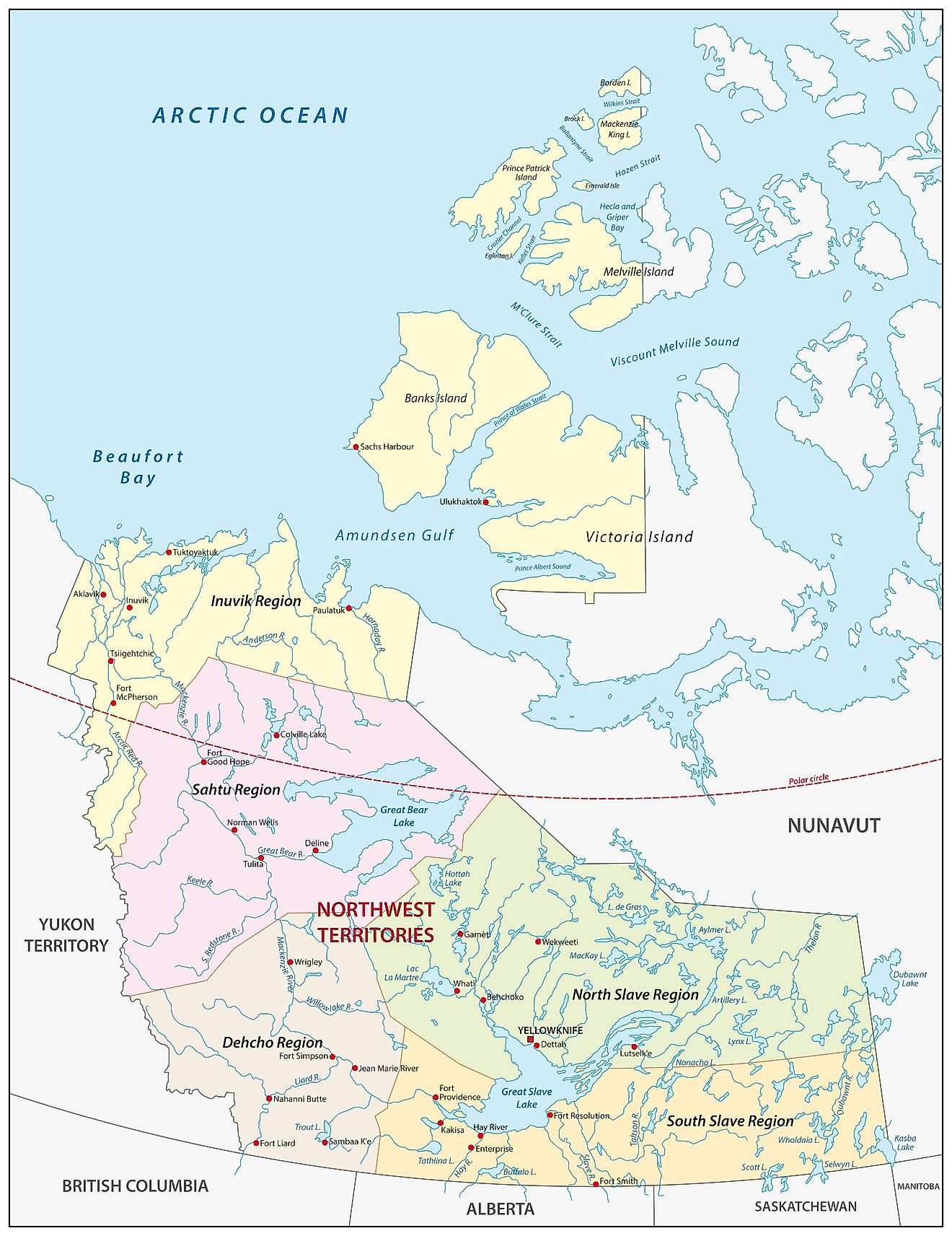 Administrative Map of Northwest Territories showing its administrative regions and the capital city - Yellowknife